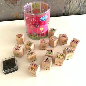 Kids Aladine Wood Mini Rubber Stamp Set 15 Pieces